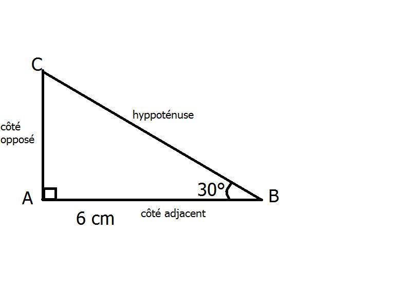 calculer un c t avec un angle et une longueur exercice de g om trie 350654. Black Bedroom Furniture Sets. Home Design Ideas