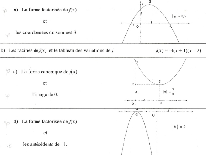 fonction polynôme du second degrès, exercice de fonctions polynôme - 362914