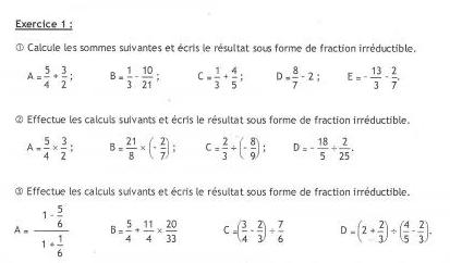 DM math 3eme fraction irr�ductibles
