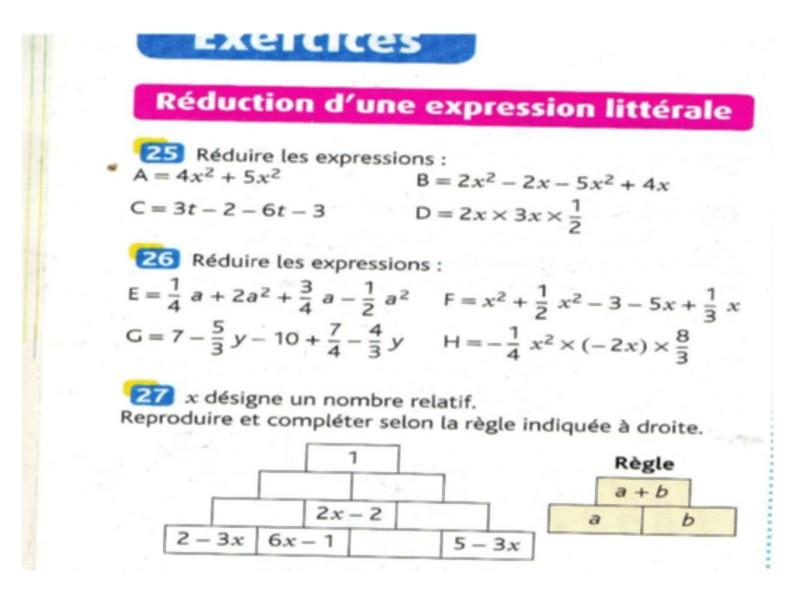Exercice De Math 4eme En Arabe