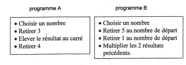 programme de calcul suivant 3ème Mathématiques