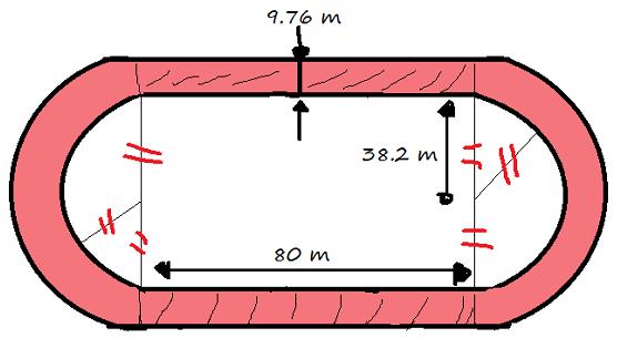 Exercice de math sur l 39 aire d 39 une piste d 39 athl tisme for Calculer une superficie en m2