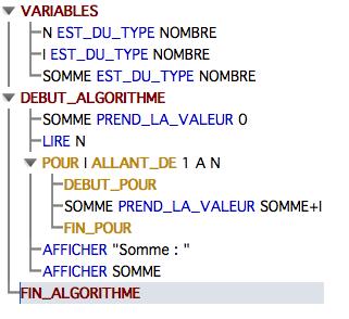 algorithme calcul somme suite